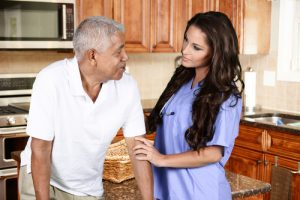 Always There Home Health Care Elderly Man Walker with Nurse